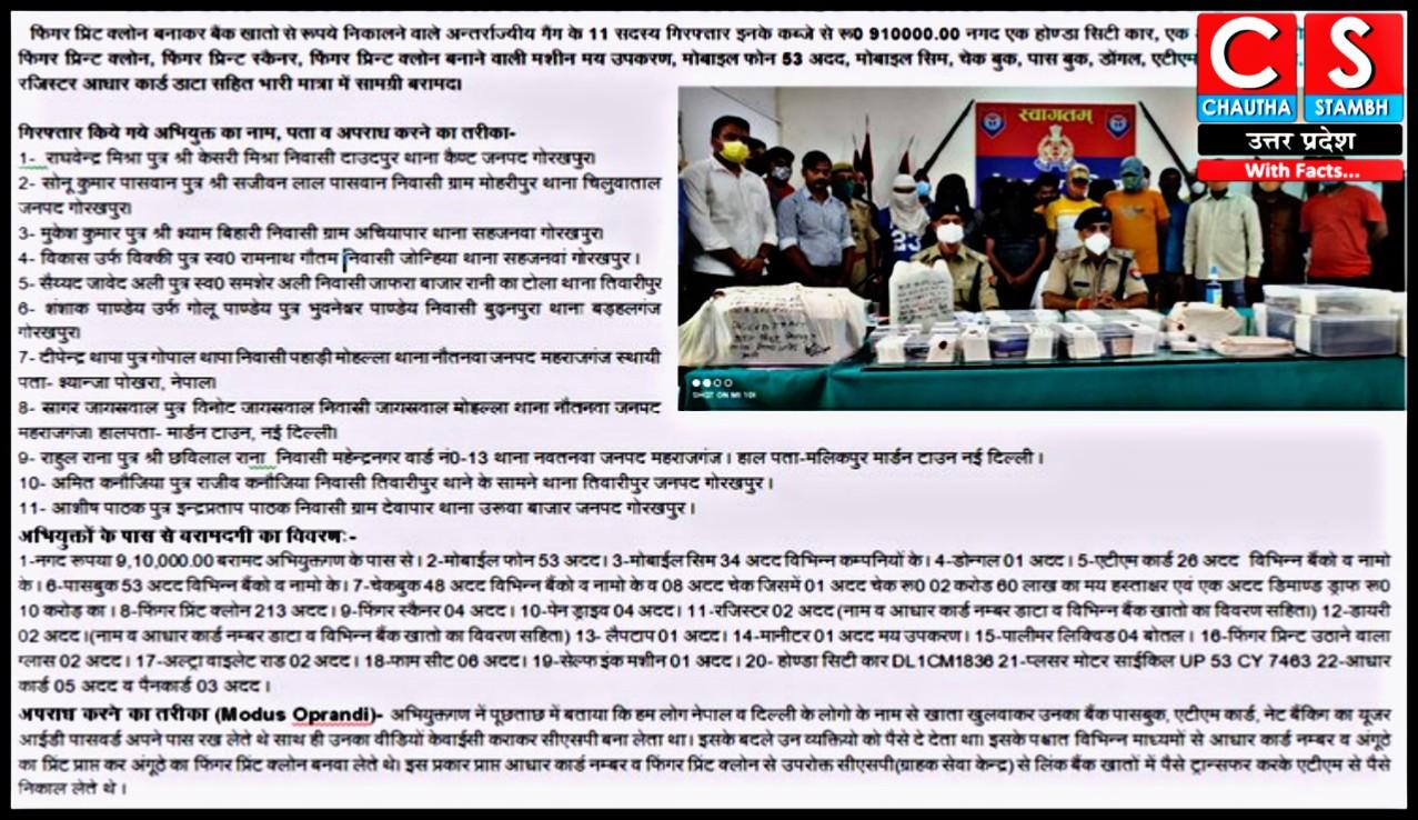 cyber crime news gorakhpur